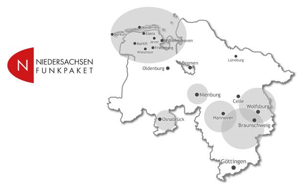 Sendegebiet Niedersachsen Funkpaket