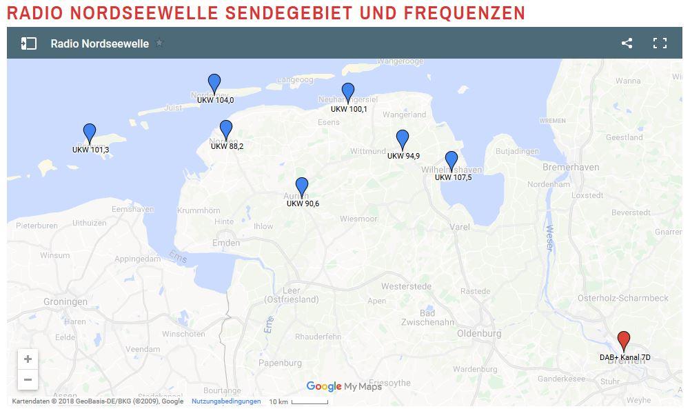 Beitragsbild Empfangsgebiet Radio Nordseewelle