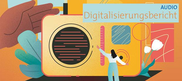 """Beitragsbild zum Artikel """"Digitalisierungsbericht 2021 - Audio sehr beliebt"""""""